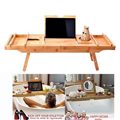 Bandeja para bañera con patas plegables Extensible de Bambú, Resiste el agua y el óxido