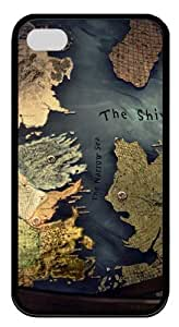 Westeros map TPU Silicone Case Cover for iPhone 4/4S ¡§CBlack