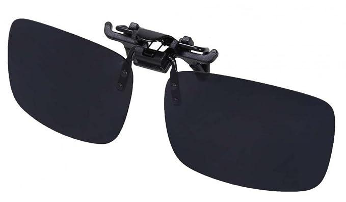 WODISON unisex rectángulo polarizado Clip en el tirón encima de las gafas de sol de las lentes al aire libre y Conducción (Negro)