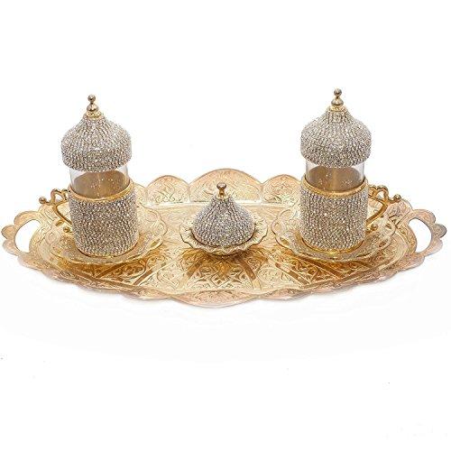 (SET of 2) Turkish Greek Arabic Coffee Espresso Serving Cup Saucer Decorated Set