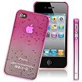 Coque étui protection - IPHONE 4 / 4S - Motif GOUTTE DE PLUIE Fushia rose