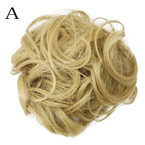 Sunward Wavy Curly Synthetic Bun Cover Hairpiece Clip in Scr