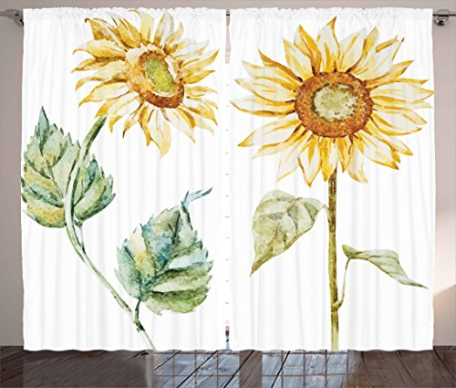 Ambesonne Watercolor Curtains, Alluring Sunflowers Summer Inspired Design Agriculture, Living Room Bedroom Window Drapes 2 Panel Set, 108