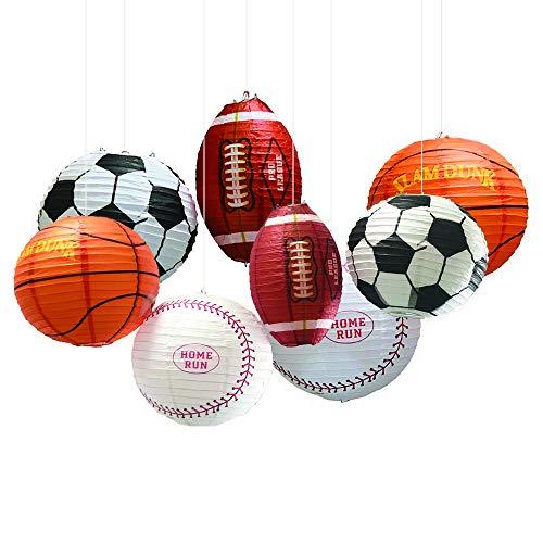 Sports Theme Decor (UNIQOOO 8Pcs Premium 12 Inch Assorted Paper Lantern Set, Soccer, American Football,Baseball,Basketball,Reusable Hanging Decorative Japanese Chinese Lanterns, Easy Assemble, Sports Fan Boy)