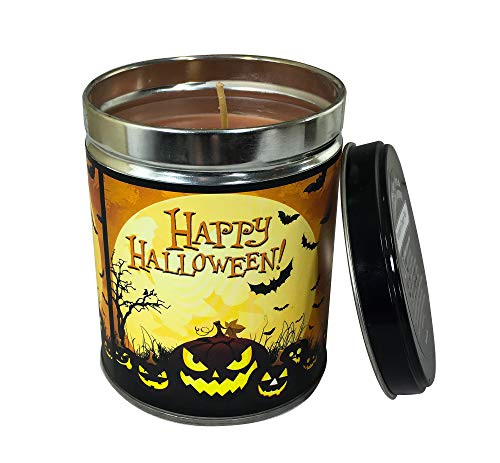 Our Own Candle Company Pumpkin Cream Pie Scented Candle in 13 Ounce Tin with a Happy Halloween Label