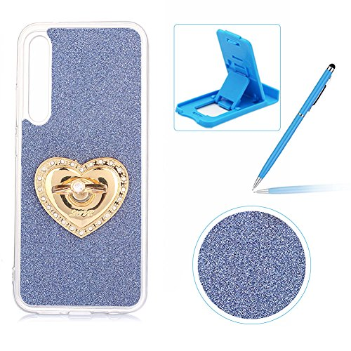 Price comparison product image Cover for Huawei P20 Pro, Rubber Case for Huawei P20 Pro, Herzzer Super Slim [Dark Blue Gradient Color Changing] Dust Resistant Soft TPU Bling Glitter Case with 360 Degree Ring Grip Holder Stand