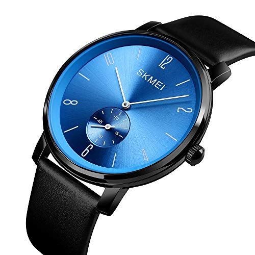 Men's Quartz Watch Ultra-Thin Fashion Business Blue dial Analog Wrist Watches Black Leather ()