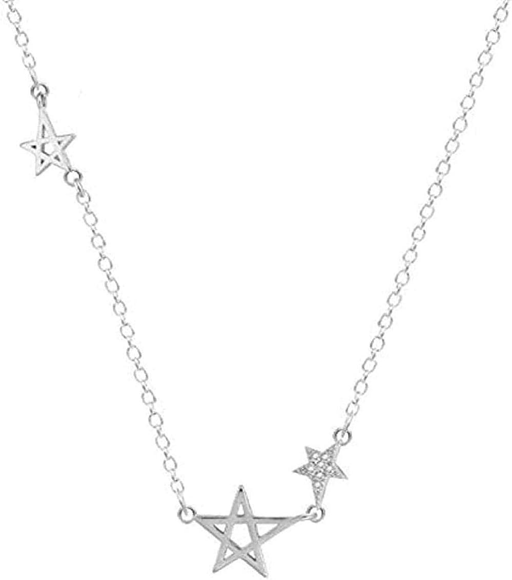 Collar Minimalista Color Plata Joyería Pop Exquisita Estrella Piedra Microcristalina Estrella Pentagonal Collar Colgante Femenino