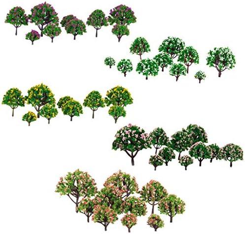 Hellery 約50個 モデルツリー 樹木 模型 花付き 鉄道風景 建物模型 ジオラマ 箱庭 情景コレクション 3-8cm