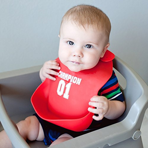 Kids N' Such Baby Bibs for Boys 3 Pack - 100% Food Grade Silicon - Waterproof with Food Catcher - Easy Clean - Anti Bacterial, Anti Microbial, Dishwasher Safe - Cute Designs for Your Baby Boy by Kids N' Such (Image #3)
