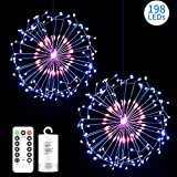 diy outdoor christmas decorations Hohoto Firework Lights, LED Fairy Lights, 2 Pack of DIY Led Light for Christmas, Home, Patio, Indoor and Outdoor as A Decoration (198 Color)