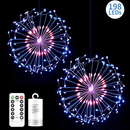 Hohoto Firework Lights, LED Fairy Lights, 2 Pack of DIY Led Light for Christmas, Home, Patio, Indoor and Outdoor as A Decoration (198 Color)