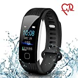 Fitness Tracker AISIRER Color Screen IP67 Waterproof Pedometer Bluetooth Watch Heart Rate Monitor Sleep Monitor Calorie Counter Activity Tracker Notification Compatible with Android and iOS Smartphone for Men Women and Kids (Black)