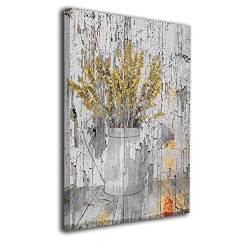 Paulino Yellow Plant Brown Farmhouse Kitchen Watering Can Canvas Paintings Wall Art Decor for Home Decorations Modern Stretched and Framed Giclee Canvas Pictures Prints Artwork 24