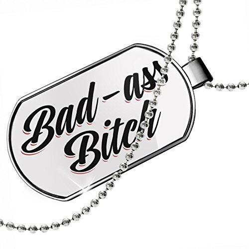 Dogtag Vintage Lettering Bad-ass Bitch Dog tags necklace - Neonblond
