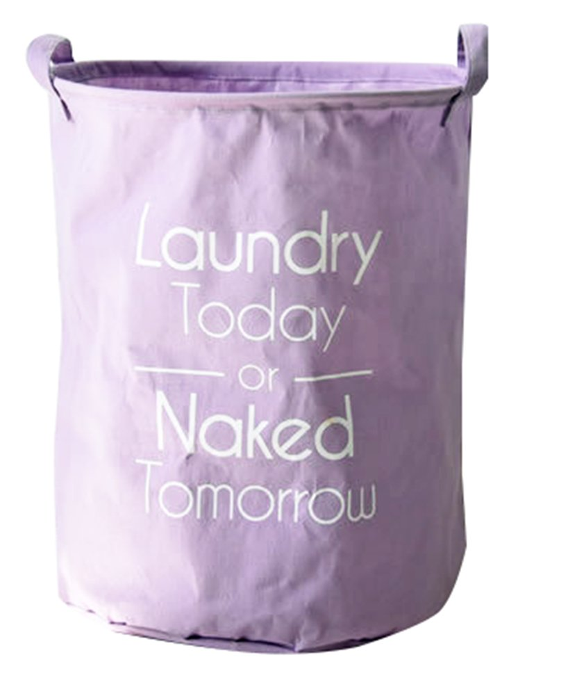 Moolecole Foldable Large Cylindric New Solid Color Canvas Fabric Storage Bin Storage Basket Organizer for Kid's Room Toy Storage, Laundry Hamper for Clothes Purple