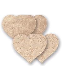 Nippies Creme Heart Waterproof Adhesive Fabric Nipple Cover Pasties Size C