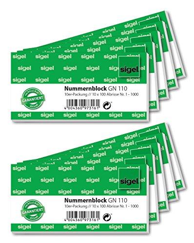 Sigel GN110 Nummernblock, 1000 Bons (nummeriert 1-1000, 10,5x5 cm, Farbauswahl nicht möglich)