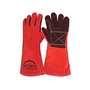 SpitJack Heat Resistant Insulated Leather Gloves for Grilling, Welding, Fireplace Cooking, Wood Stove, Oven and BBQ