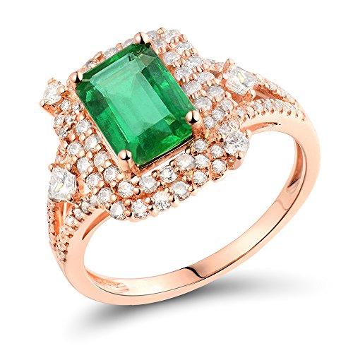 - Lanmi 1.6Ct Emerald Engagement Diamond Emerald Cut 6x8mm Ring Solid 14K Rose Gold