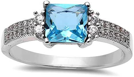 Princess Cut Simulated Aquamarine & Cubic Zirconia .925 Sterling Silver Ring Size 4-10