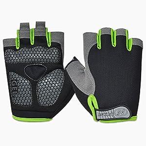 HuwaiH Cycling Gloves Men's/Women's Mountain Bike Gloves Half Finger Biking Gloves | Anti-slip Shock-absorbing Gel Pad Breathable Cycle Gloves (Black Green, Large(Male))