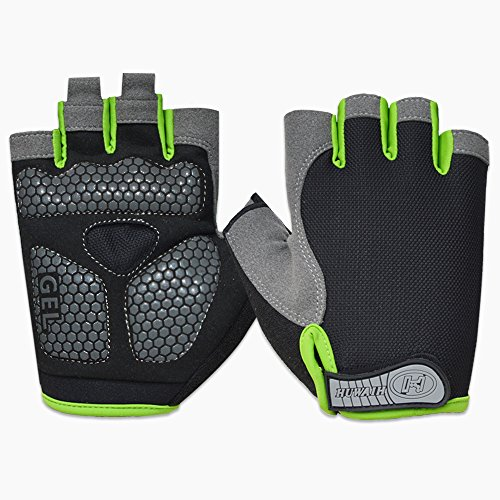 HuwaiH Cycling Gloves Mountain Bike Gloves Anti-Slip Shock-Absorbing Pad Biking Gloves Bicycle Road Racing Riding Gloves Half Finger Breathable Cycle Gloves for Men and Women (Black Green, Large)