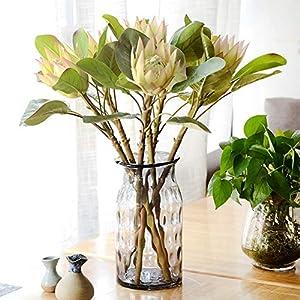 dezirZJjx Artificial Flowers 1Pc King Protea Artificial Flower Fake Plant DIY Wedding Bouquet Party Decor - Beige 4