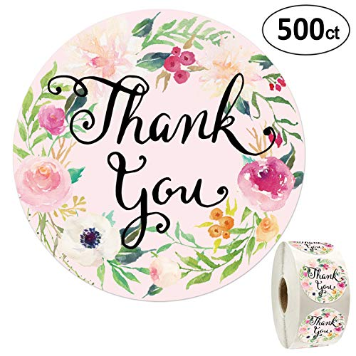 Floral Thank You Stickers-1.4 inch, 500 Pack of Round Adhesive Labels for Baby Shower, Wedding, Graduation, Birthdays, Business.
