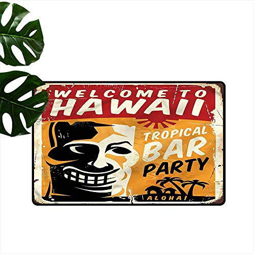"AndyTours Dog Doormat,Tiki Bar Tropic Bar Party,Super Absorbs Mud,24""x16"""