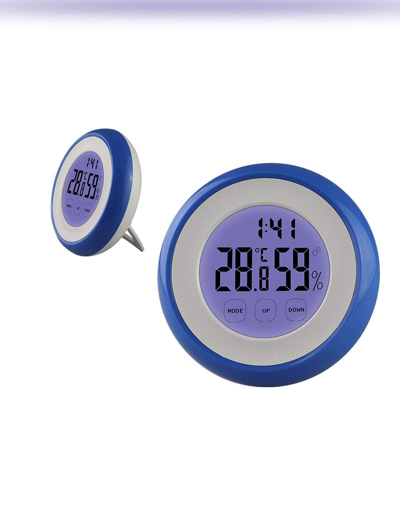 ZUZU Indoor Digital LCD Thermometer Hygrometer Backlight Clock Touch Screen Electronic Temperature Humidity Meter Weather Station,A