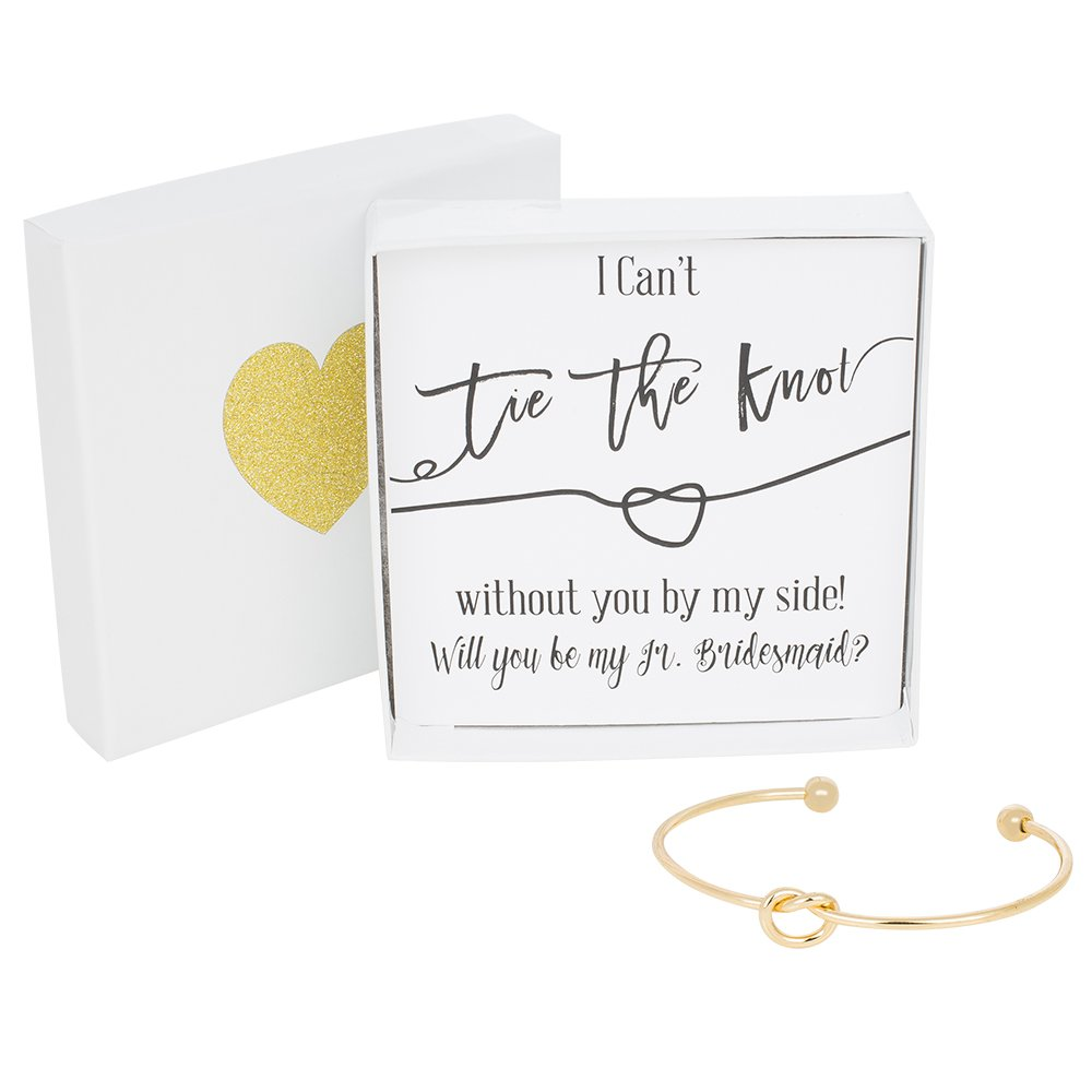 Bridesmaid Gifts - Tie The Knot Jr. Bridesmaid Bracelet w/ Gift Box, Wedding Thank You Gift, Love Knot Jewelry, Bridal Party Gift Sets (Gold, Rose Gold, Silver) (Black Note_Gold Bracelet)