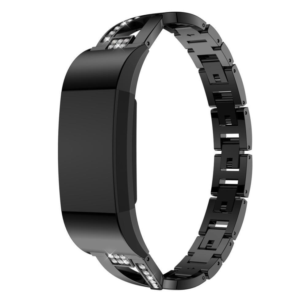 BZLine Für Fitbit Charge 2 Armband, Metall Kristall Uhrenarmband Luxus Edelstahl Handgelenk Ersatzband Armbänder für Fitbit Charge2 (One Size, Gold)