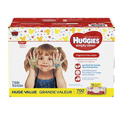 Hypoallergenic Baby Wipes (HUGGIES Simply Clean Fragrance Free Baby Wipes, 11 Soft Pack (792 Count Total), Alcohol and Paraben Free)