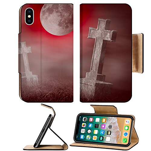 Liili Premium Apple iPhone X Flip Pu Leather Wallet Case ID: 23132878 Mystery old graveyard with a group of cross tombstones at midnight Halloween (Halloween Graveyard Food)