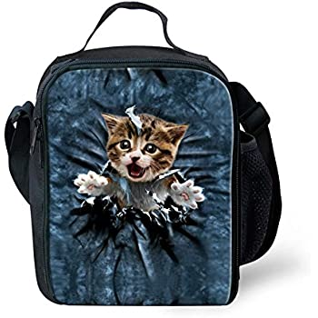 80e4e82b2979 FOR U DESIGNS Cute Cat Print Back to School Supplies Thermal Lunch Box for  Girls