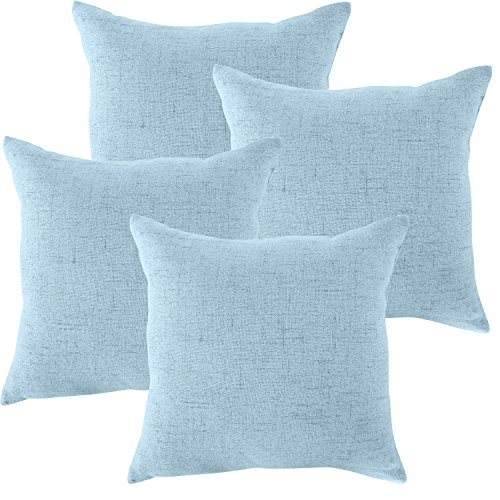 ALBAD Linen Pillow Covers 18 x 18 Inch Sets of 4 Pastel Blue Decorative Square Throw Pillow Cover Cushion Case Sofa Durable Modern Stylish Linen Sky Blue Throw Cushion Covers Hidden Zipper