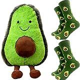 Avocado Plush 9 inch and Two Pairs of Avocado Socks Doll Soft Skin-Friendly Stuffed Animal Toy Shape Pillow Gift (Avocado Pack)