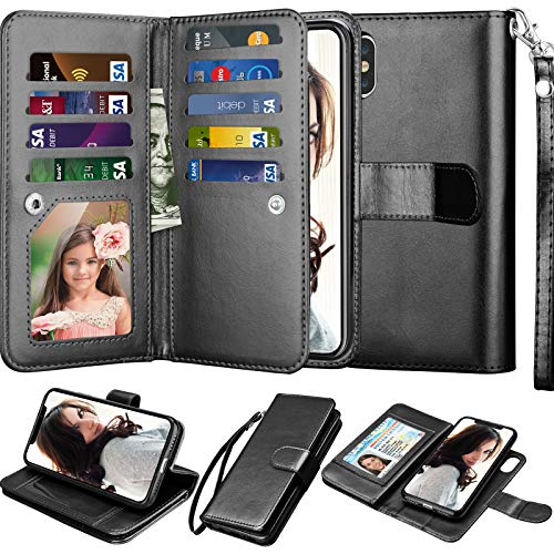 Njjex iPhone Xs Max Wallet Case, for iPhone Xs Max 6.5 Inch Case, PU Leather [9 Card Slots] ID Credit Folio Flip [Detachable][Kickstand] Magnetic Phone Cover & Lanyard for iPhone Xs Max 2018 [Black]