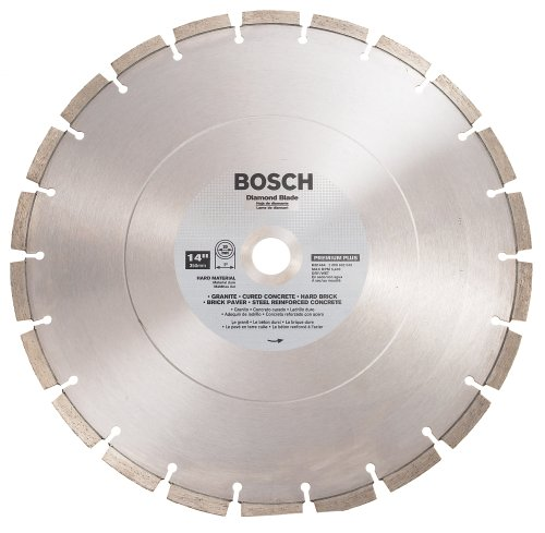 Bosch DB1464 Premium Plus 14-Inch Dry or Wet Cutting Segmented Diamond Saw Blade with 1-Inch Arbor for Reinforced Concrete (Blade Diamond Plus Dry)