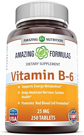 Amazing Nutrition Vitamin B6 Dietary Supplement – 25 mg, 250 Tablets (Non-GMO,Gluten Free) – Supports Healthy Nervous System, Metabolism & Cell Health