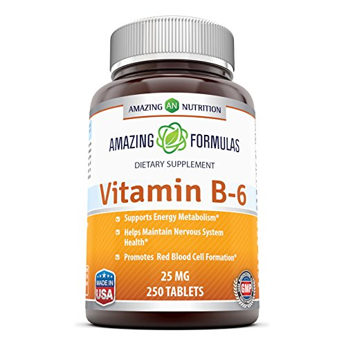 Amazing Nutrition Vitamin B6 Dietary Supplement – 25 mg, 250 Tablets – Supports Healthy Nervous System, Metabolism & Cell Health