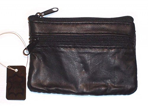 Wallet Black Leather Coin Purse / Mini Wallet / Key Pouch - 2 Zippered Sections