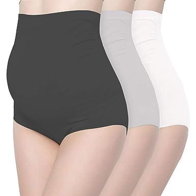 f9678f7e8b51f Surewin Women's Seamless Over Bump Maternity Underwear High Waist Pregnancy  Panties S/M Black Grey