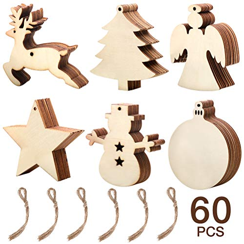 Thanksgiving Craft Projects (60 Pieces Natural Wood Slices, DIY Christmas Wooden Ornaments Unfinished, 6 Styles Wood Hanging Embellishments Craft Kit, Wooden Decorations (Star, Christmas Tree, Snowman, Angel, Round Discs,)