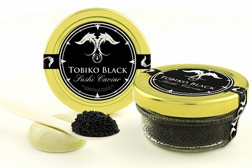 Black Sushi Caviar - GUARANTEED OVERNIGHT! Tobiko Flying Fish Roe BLACK Sushi Caviar 1.1 lbs/ 17.5 oz/ 500 gr