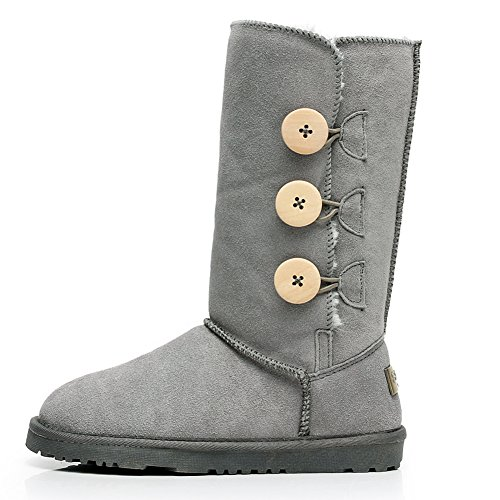 Button Snow Winter Mid Grey Suede Womens Triplet US10 Warm Fashion SN1073 Boots Boots Calf Rismart qwXtat