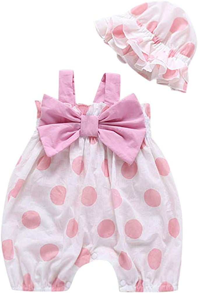 Baby Romper  Funny Baby Clothes Unisex Boy Girl One Piece Tie Polka Dots