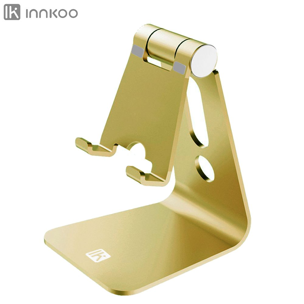 Multi-angle Adjustable Cell Phone Stand, InnKoo L1 Aluminum Cradle, Dock, Holder For iPhone X 8 7 6 6s Plus 5 5s 5c Samsung Galaxy and all Android Smartphone, Easy charging Accessories Desk (Golden)