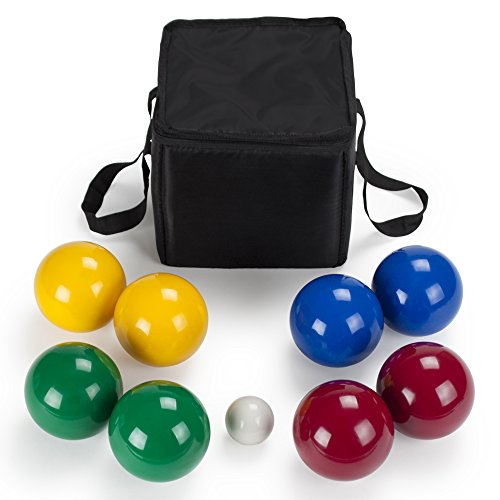 Set Deluxe Ball - Deluxe 4-Player Resin Bocce Ball Set with Carrying Case, 90mm by Crown Sporting Goods